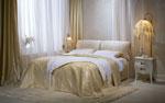 Поръчкова спалня в цвят шампанско с две възглавници, прикачени към таблата с деликатна текстилна тап